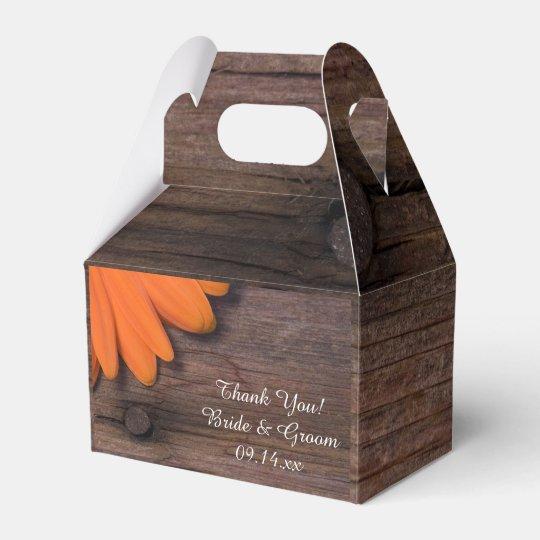 Faux Barn Wood Rustic Orange Daisy Wedding Favour