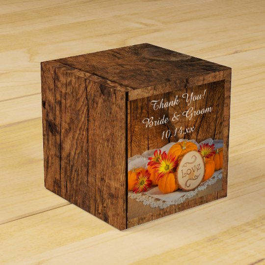 Faux Barn Wood Rustic Pumpkins Fall Wedding Favour