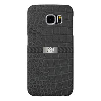 Faux Black Alligator Monogram Samsung Galaxy S6 Cases