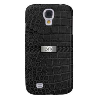 Faux Black Alligator Monogram Samsung Galaxy S4 Cover