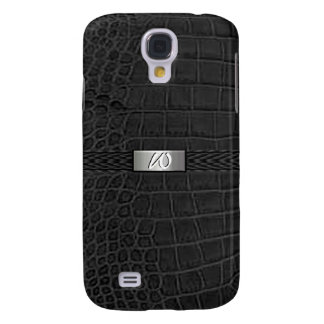 Faux Black Alligator Monogram Galaxy S4 Case