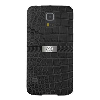 Faux Black Alligator Monogram Galaxy S5 Cases