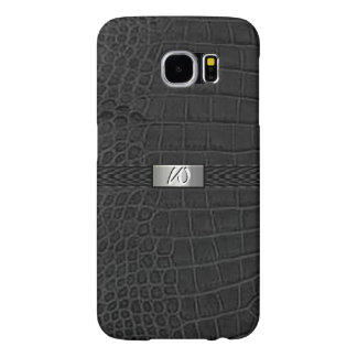 Faux Black Alligator Monogram Samsung Galaxy S6 Cases