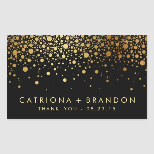 Faux Black and Gold Foil Confetti Favour Sticker