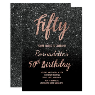 Faux black glitter script rose gold 50th Birthday Card