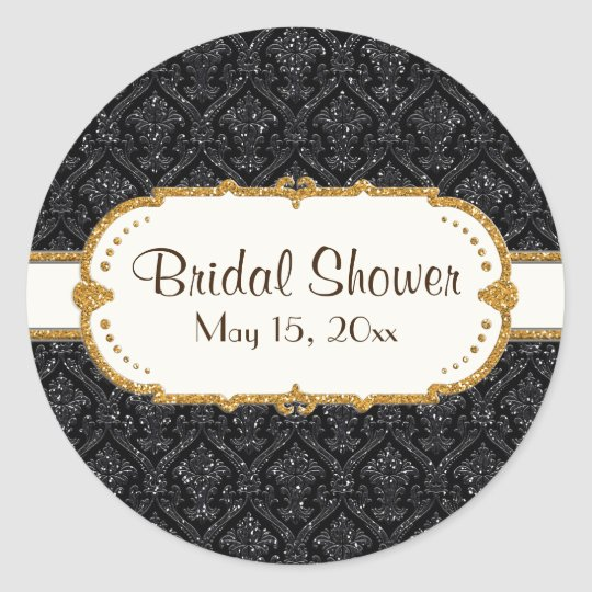 Faux Black Gold Glitter Damask Wedding Stationery Classic Round Sticker