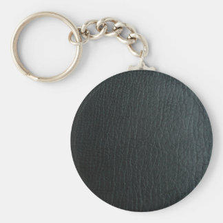Faux Black Leather Texture Key Ring