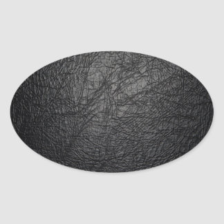 Faux Black Leather Texture Oval Sticker