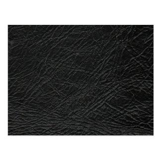 faux black leather texture postcard