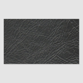 faux black leather texture rectangular sticker