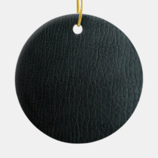 Faux Black Leather Texture Round Ceramic Decoration