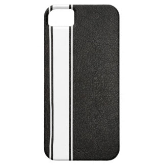 Faux Black Leather & White Stripe iPhone 5s Case