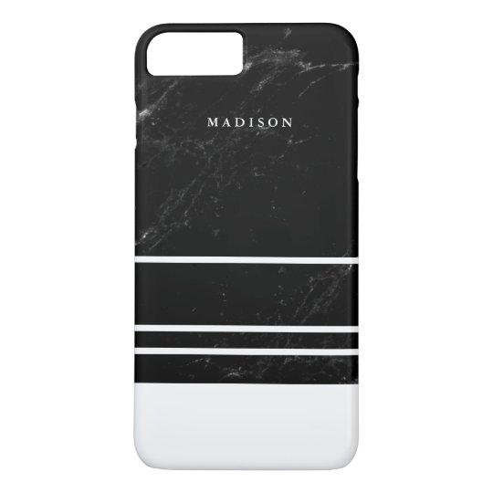 Faux Black Marble and Minimalist White Stripes iPhone