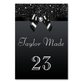 Faux Black Sequins and Bows Table Cards