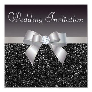 Faux Black Sequins, Silver Bow & Diamond Wedding 13 Cm X 13 Cm Square Invitation Card