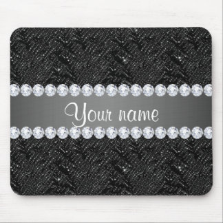 Faux Black Sequins Sparkles and Diamonds Mouse Mat
