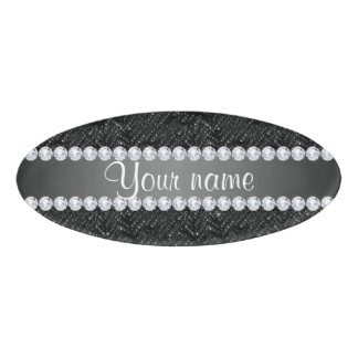 Faux Black Sequins Sparkles and Diamonds Name Tag