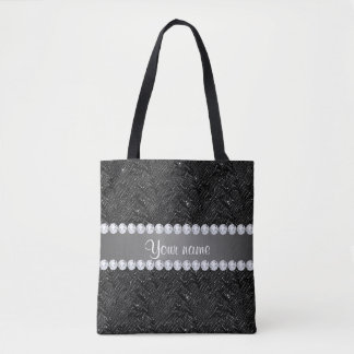 Faux Black Sequins Sparkles and Diamonds Tote Bag