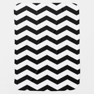 Faux Black White Foil Chevron Zig Zag Pattern Baby Blanket