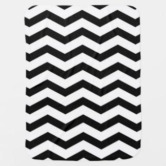 Faux Black White Foil Chevron Zig Zag Pattern Pramblanket
