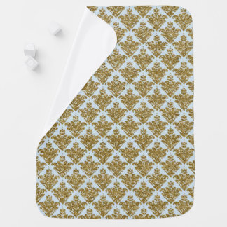 Faux Blue and Gold Glitter Small Damask Baby Blanket