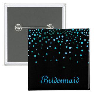 Faux Blue Confetti Elegant Sparkles Bridesmaid 15 Cm Square Badge