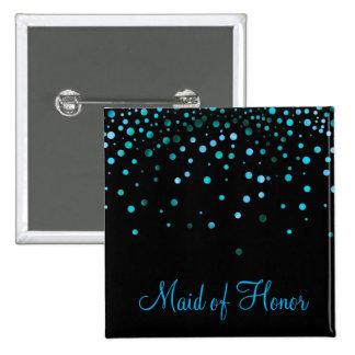 Faux Blue Confetti Elegant Sparkles Maid of Honor 15 Cm Square Badge