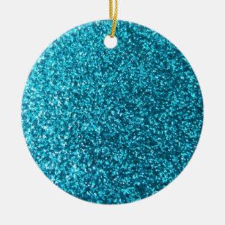 Faux Blue Glitter Christmas Ornament