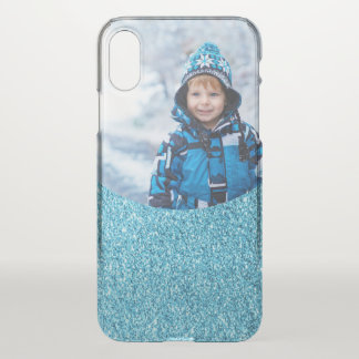 Faux Blue Glitter Create Your Own Photo Image iPhone X Case