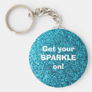 Faux Blue Glitter Key Ring