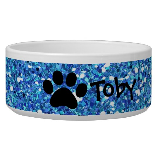 Faux Blue Glitter Paw Print Personalised Pet Bowl