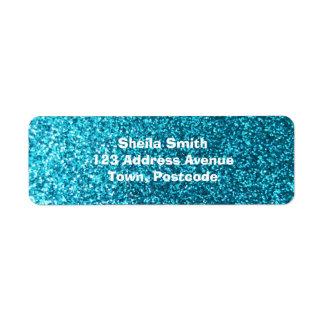 Faux Blue Glitter Return Address Label