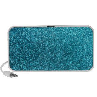 Faux Blue Glitter Travel Speakers