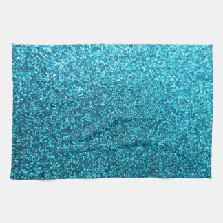 Faux Blue Glitter Tea Towel
