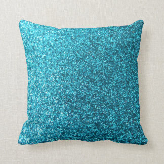 Faux Blue Glitter Throw Pillow