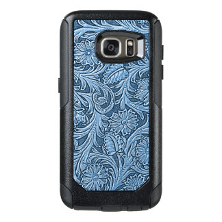 Faux Blue Leather Chic Paisley Floral Pattern OtterBox Samsung Galaxy S7 Case