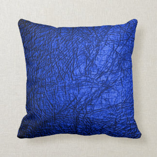 Faux Blue Leather Texture Throw Pillow