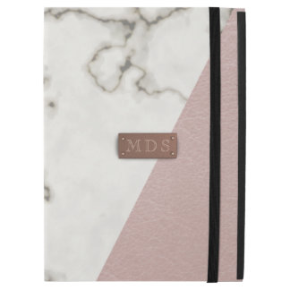 Faux Blush Pink Marble iPad Pro Case 3D Monogram