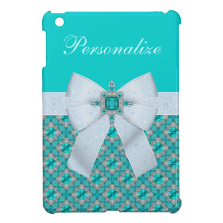 Faux Bow & Aquamarine & Silver Jewels iPad Mini Cases