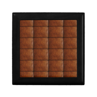 Faux Brown Leather Texture Small Square Gift Box