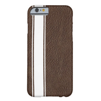 Faux Brown Leather & White Stripe iPhone 6 Case Barely There iPhone 6 Case