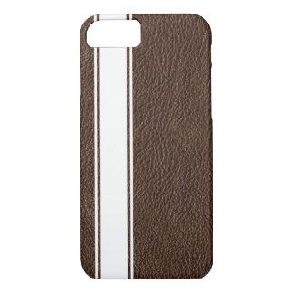 Faux Brown Leather & White Stripe iPhone 7 Case