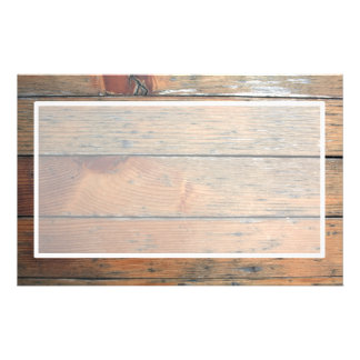 Faux Brown Wooden Paneling Center White Stationery