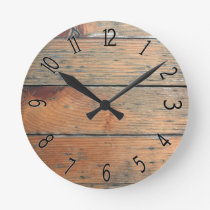 Faux Brown Wooden Panelling Round Clock