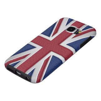 Faux Brushed Metal Style Union Jack Samsung Galaxy S6 Cases