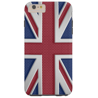 Faux Brushed Metal Style Union Jack Tough iPhone 6 Plus Case