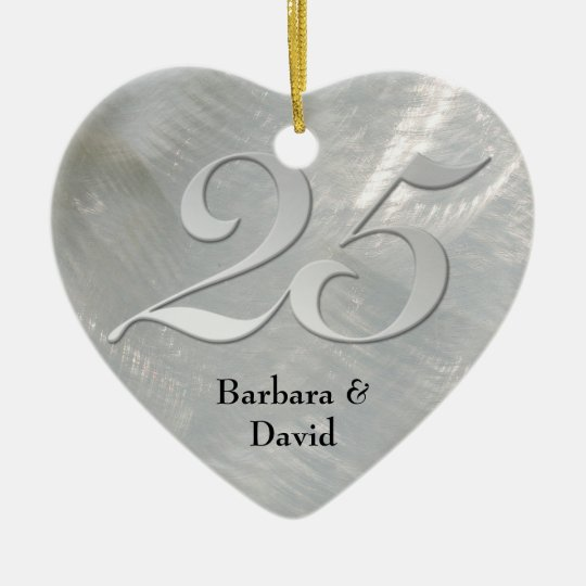 Faux Brushed Silver Anniversary Ornament