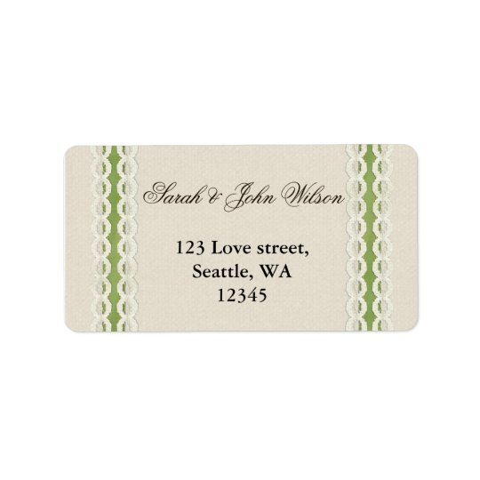FAUX burlap and lace lime country wedding Address Label