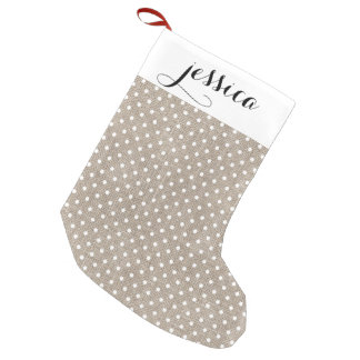 Faux Burlap and White Dots Stocking Small Christmas Stocking