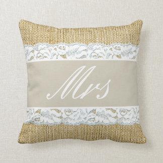 Faux Burlap Bride Pillow